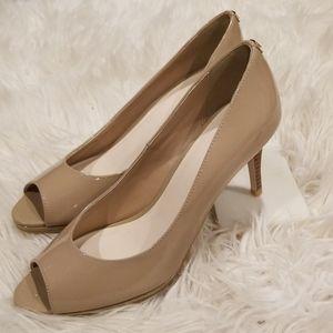 Cole Haan, tan/beige, peek-a-boo toe, heel, sz7.5B